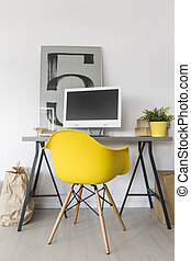 Simple home study area idea - Simple home office with desk,...