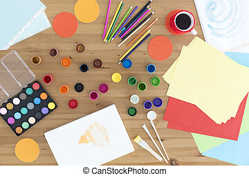 Artistic space full of colours - Young artist's workplace...