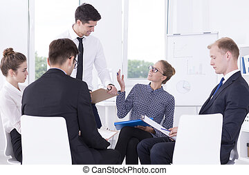 Motivational meeting with employees