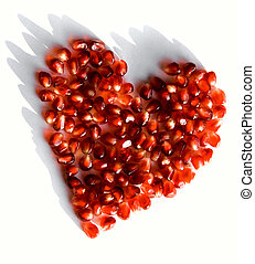 Pomegranate heart - Creative photo of red heart made up of...