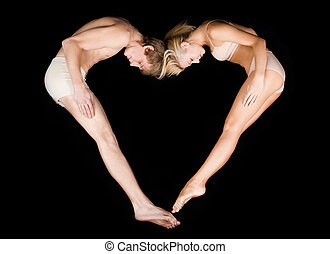 Love dream - Image of shape of heart made up by two lovers...