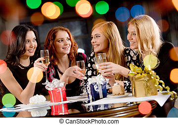 Hen-party - Portrait of pretty girls celebrating birthday in...