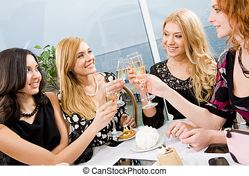 Celebration - Portrait of elegantly ladies with champagne...