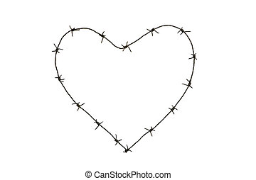 Barbed heart - Image of heart made up of barbed wire over...