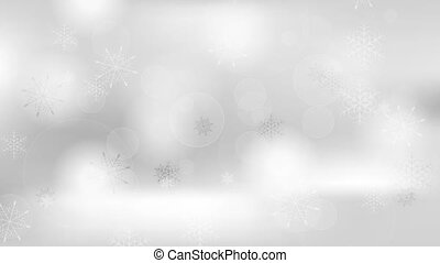Grey cold winter Christmas clip with snowflakes. Video...