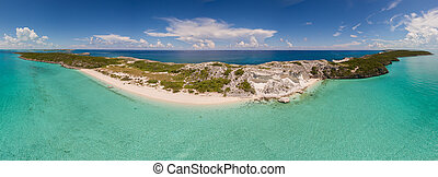 Aerial, panoramic view of exotic islands