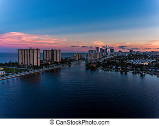 Aerial view of Miami Hollywood with hotels and apartments