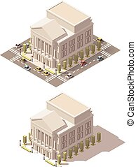 Vector isometric low poly Opera house - Vector isometric low...