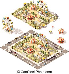 Vector isometric low poly amusement park with attractions...