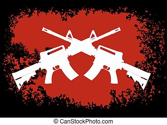 Two crossed assault guns - two crossed American assault guns...