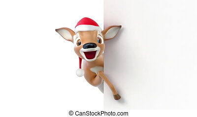 Cartoon deer in a hat of Santa Claus, 3d animation with an...