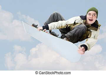 Joy - View of joyful young man holding snowboard jumping
