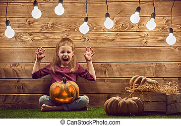 kid with a pumpkin head - Happy Halloween! Cute little kid...