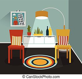 Interior desig. Flat design vector illustration.