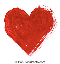 Painted heart - Painting of big red heart over white...