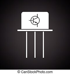 Transistor icon Black background with white Vector...