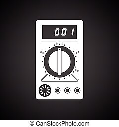 Multimeter icon Black background with white Vector...