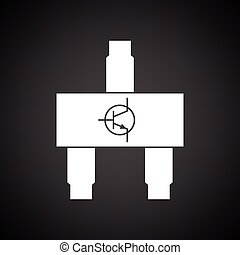 Smd transistor icon Black background with white Vector...