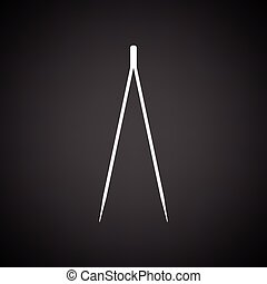 Electric tweezers icon. Black background with white. Vector...