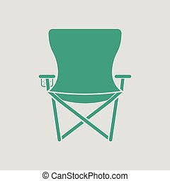 Icon of Fishing folding chair. Gray background with green....