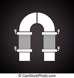Electric magnet icon. Black background with white. Vector...