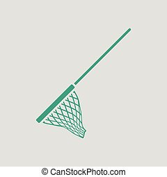 Icon of Fishing net Gray background with green Vector...