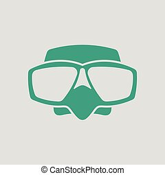 Icon of scuba mask . Gray background with green. Vector...
