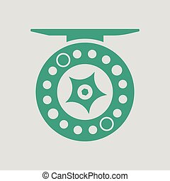 Icon of Fishing reel . Gray background with green. Vector...