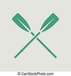 Icon of boat oars. Gray background with green. Vector...