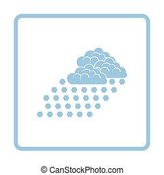 Hail icon. Blue frame design. Vector illustration.