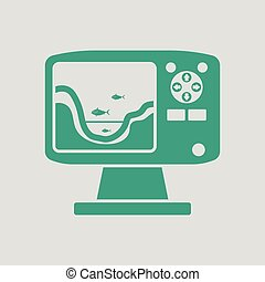Icon of echo sounder . Gray background with green. Vector...