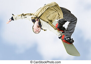 Skillful teenager - Image of courageous guy jumping on...