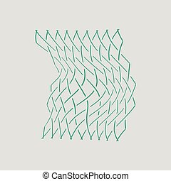Icon of Fishing net . Gray background with green. Vector...