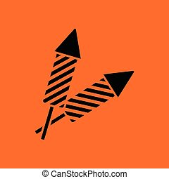 Party petard icon. Orange background with black. Vector...