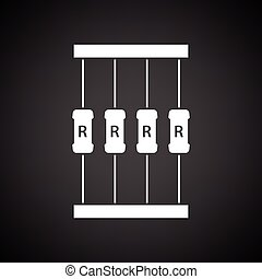 Resistor tape icon. Black background with white. Vector...