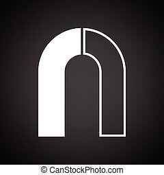 Magnet icon. Black background with white. Vector...