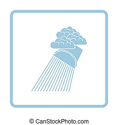 Rainfall like from bucket icon. Blue frame design. Vector...