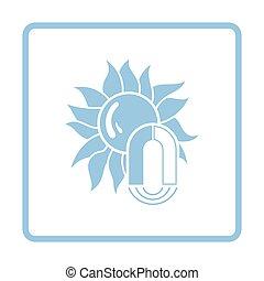 Magnetic storm icon. Blue frame design. Vector illustration.