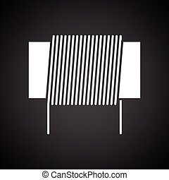 Inductor coil icon. Black background with white. Vector...