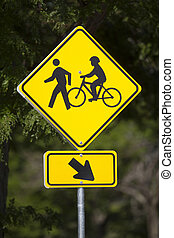 Bicycles and Pedestrians Road Sign - Bicycles and...