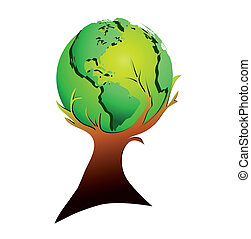 Global tree - Tree and globe Symbolic of climate protection,...