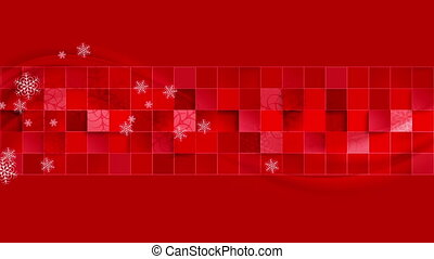 Bright red geometric wavy Christmas video clip - Bright red...