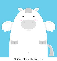cute fat big pegasus horse