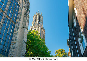 Utrecht. Ancient tower on a sunny day. - Old medieval tower...