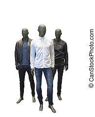 Three male mannequins in casual clothes