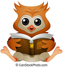 Reading Book - Owl reading Book with Clipping Path