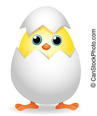 Chick in Egg with Clipping Path