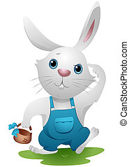 Easter Rabbit with empty Basket Thinking with Clipping Path