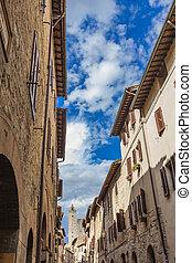 San Gimignano - View at stone tower at San Gimignano,...