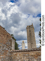 San Gimignano - View at stone towers at San Gimignano,...